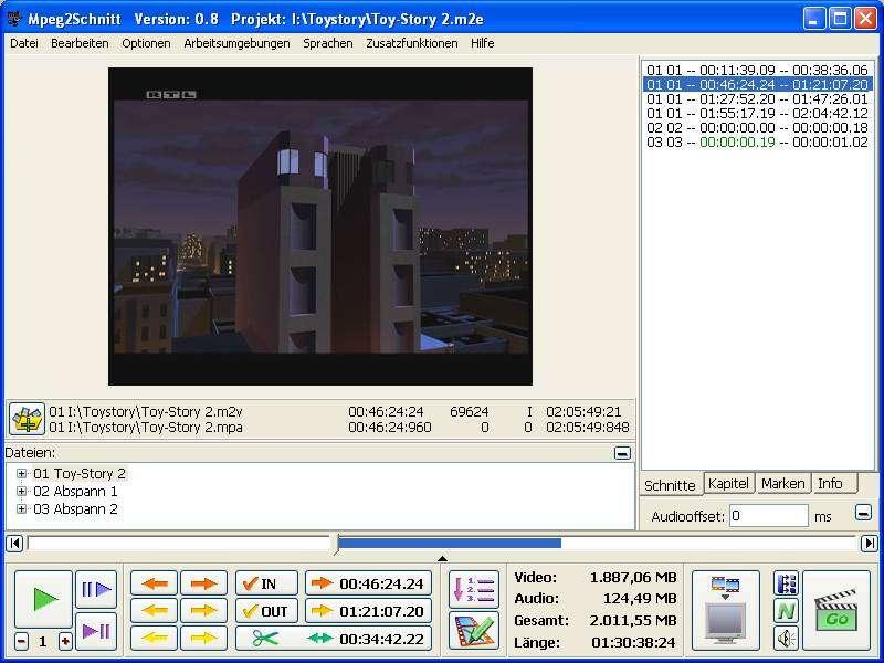 Screenshot für Mpeg2Schnitt